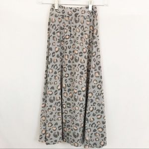 Cherokee Bottoms - Cherokee | Grey & Pink Leopard Print Maxi Skirt